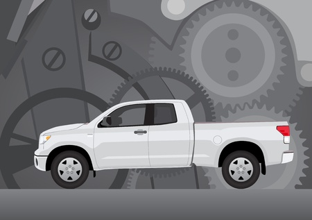 Pick-up truck with background of cogwheels  Vehicle and background on separate layers, no transparencies