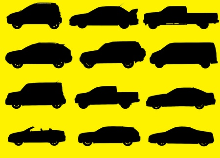 transference: Various city cars black silhouettes isolated on yellow background  Part 4