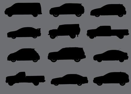 灰色の背景部分 2 に分離された様々 な都市の車のシルエット