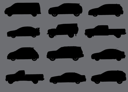 lift trucks: Various city cars silhouettes isolated on grey background  Part 2