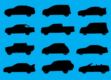 transference: Various city cars silhouettes isolated on blue background  Part 1 Illustration