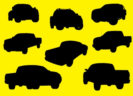 transference: Pick-up trucks silhouettes isolated on yellow background  Illustration