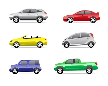 Cars icons set isolated on white background, no transparencies   Part 3 Stock Vector - 13006312