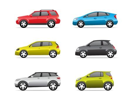 자동차 아이콘에 격리 된 흰색 배경을 설정합니다, 더 투명하지 2 부 일러스트