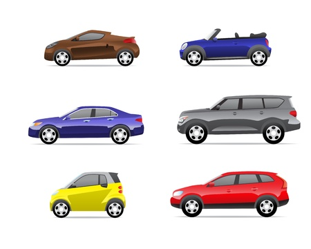 Cars icons set isolated on white background, no transparencies  Part 1