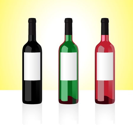 whine: Three bottles of white, red and rose whine isolated on white background  Part 1