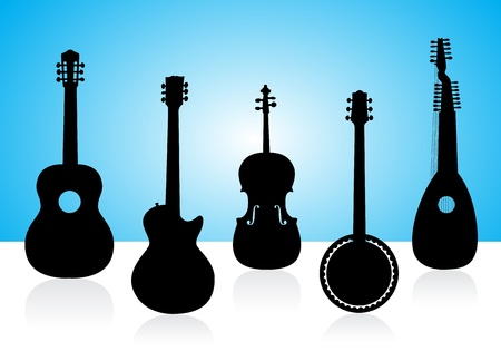 String instruments silhouettes on color background  photo