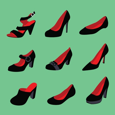 Women shoes silhouettes isolated on green background Stock Vector - 13211894