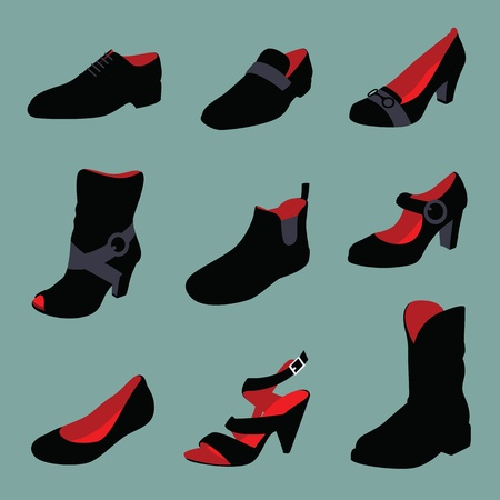 Men and women shoes silhouettes isolated on green background. photo