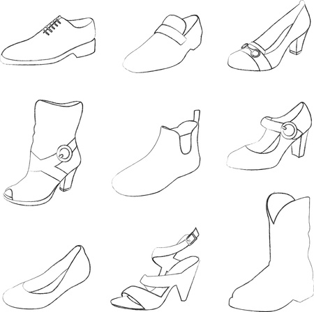 the latest models: Men and women shoes silhouettes isolated on white background.