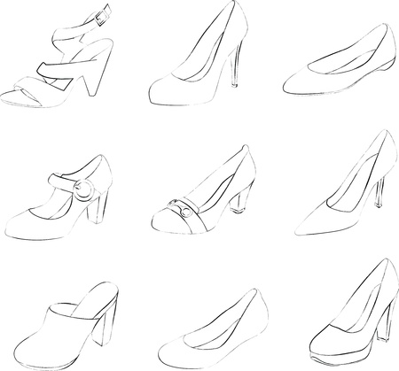 the latest models: Women shoes silhouettes isolated on white background.