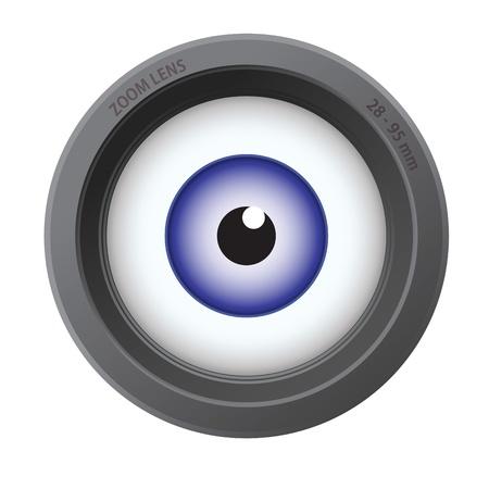 白い背景で隔離のカメラのレンズの内部の目。