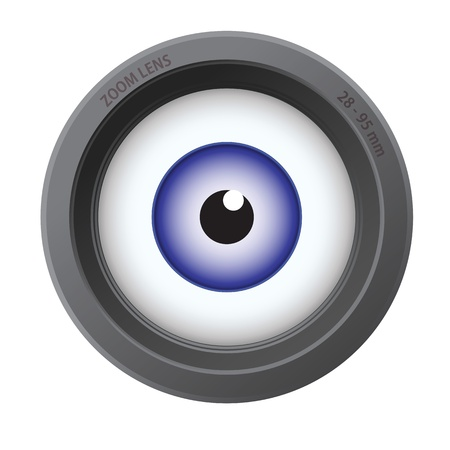 camera surveillance: An eye inside of camera lens isolated on white background. Illustration