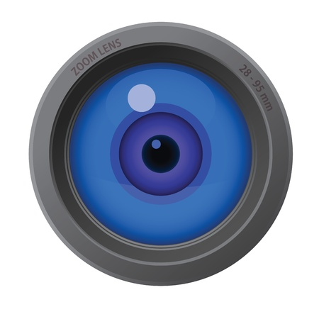 viewpoint: An eye inside of camera lens isolated on white background. Illustration