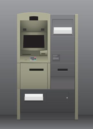 automatic teller machine: Cajero autom�tico dentro de la m�quina del interior gris Foto de archivo