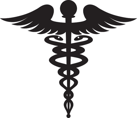 Black caduceus symbol isolated on white background  Stock fotó
