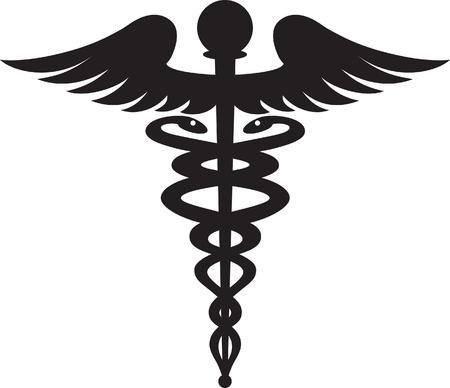 Black caduceus symbol isolated on white background  Foto de archivo