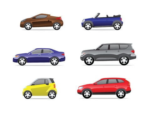 transference: Cars icons set isolated on white background, no transparencies