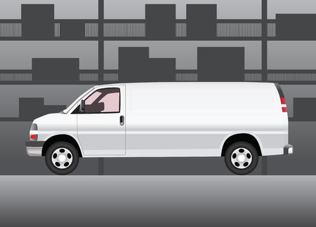 stockroom: White delivery van inside of storehouse