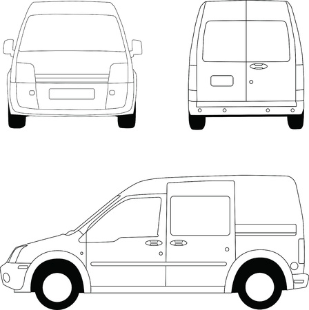 Delivery van line illustration Stock Illustration - 13535438