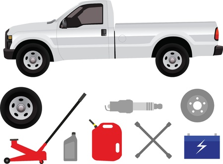 Pick-up truck with group of repair shop elements isolated on white background   photo
