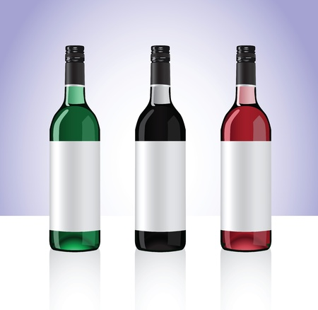 whine: Three bottles of white, red and rose whine isolated on white background  Part 2  Stock Photo