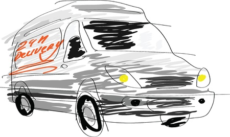 Delivery van sketch isolated on white Stock Vector - 13567628