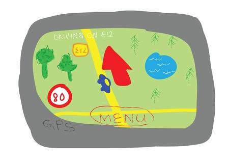 gps device: GPS navigation device cartoon style isolated on white  Illustration