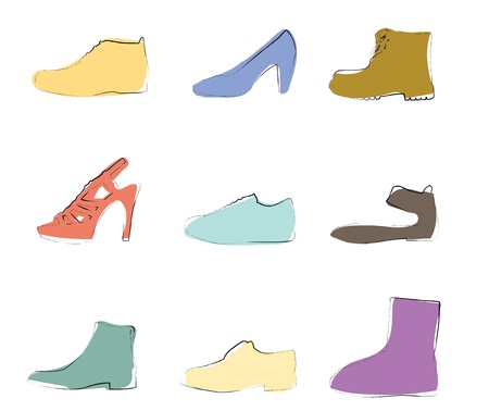 Shoes silhouettes artistic colors Stock Vector - 13585744