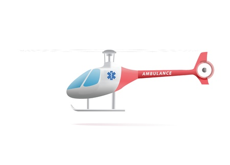 Ambulance helicopter red and white isolated on white background  photo
