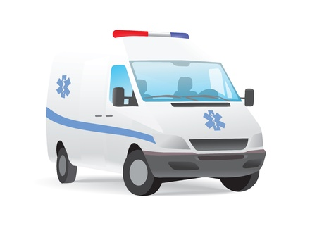 transference: Ambulance van blue star insignia isolated on white