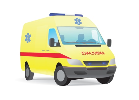 transference: Yellow ambulance van, blue star insignia, isolated on white