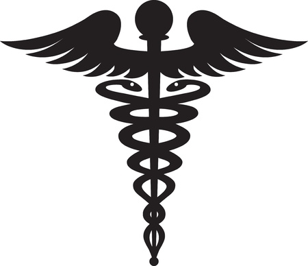 Caduceus sign black isolated on white background  photo