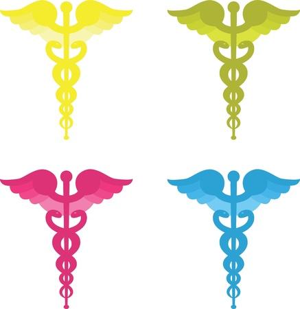 Caduceus symbols four colors photo