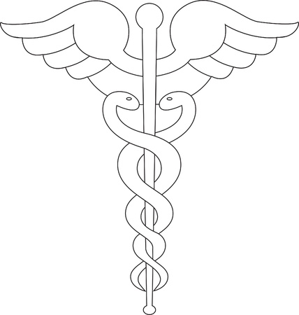 Caduceus symbol line black photo