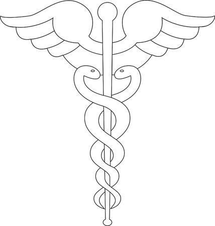 caduceus: Caduceus symbol line black