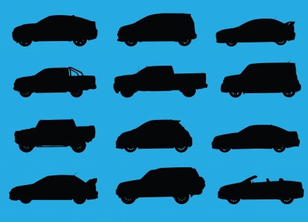 transference: Various city cars silhouettes isolated on blue background. Stock Photo