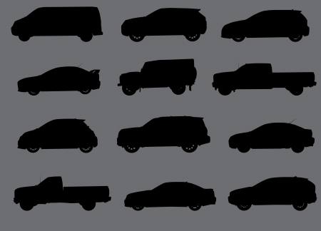 transference: Various city cars silhouettes isolated on grey background.