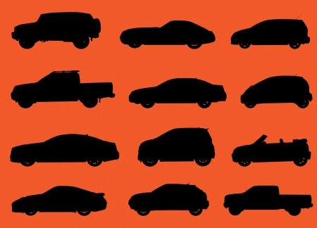 transference: Various city cars silhouettes isolated on red background