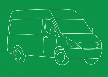 transference: Delivery van line illustration on green background
