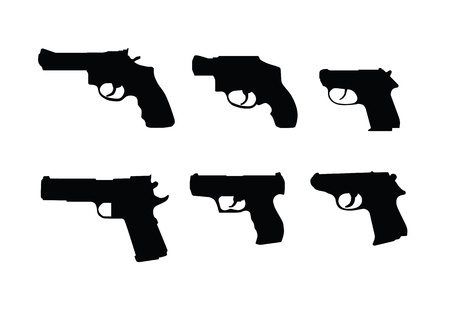 Hand guns swilhouettes isolated on white background  Stockfoto