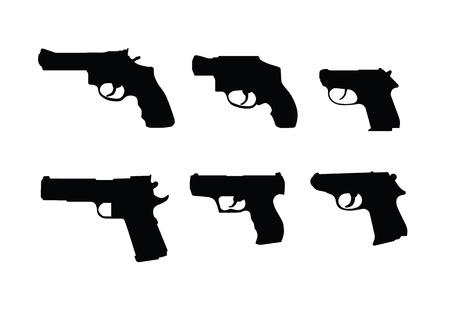 Swilhouettes 白い背景で隔離の銃手