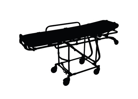 Stretchers silhouette black on white background  photo