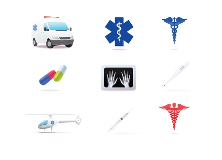 Medical icons 3d on white background  photo