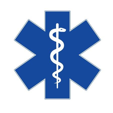 Emergency star blue on white background  Stock Photo - 14554045