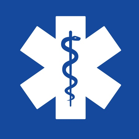 Emergency star white on blue background  Stock Photo - 14553837