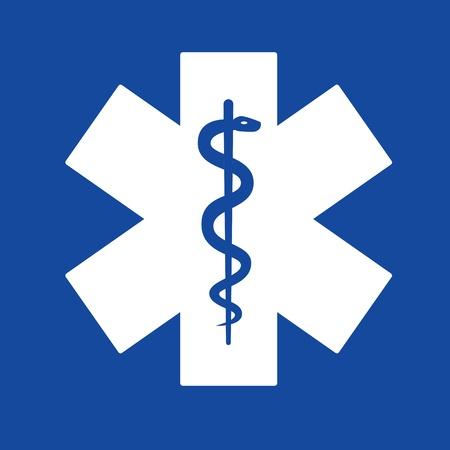 Emergency star white on blue background  photo