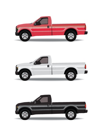 Pick-up trucks in three colors - red, white and black Banque d'images