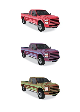 Pick-up trucks isolated on white background Stock Photo - 14580410