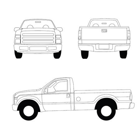 ピックアップ トラック線図、フロント、サイド、リア ビュー 写真素材